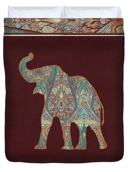Duvet Cover featuring the painting Kashmir Patterned Elephant 3 - Boho Tribal Home Decor by Audrey Jeanne Roberts