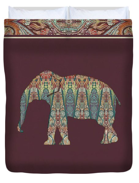 Duvet Cover featuring the painting Kashmir Patterned Elephant - Boho Tribal Home Decor  by Audrey Jeanne Roberts