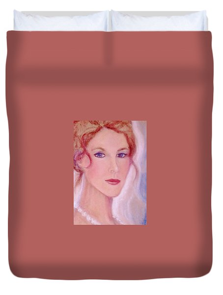 Duvet Cover featuring the drawing Kate by Denise Fulmer