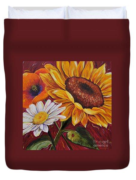 Kathrin's Flowers Duvet Cover by Lisa Fiedler Jaworski