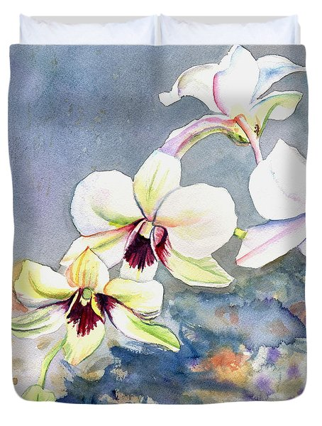 Duvet Cover featuring the painting Kauai Orchid Festival by Marionette Taboniar
