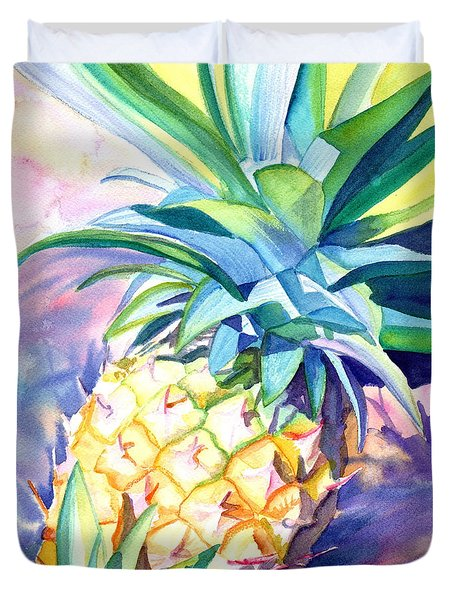 Duvet Cover featuring the painting Kauai Pineapple 3 by Marionette Taboniar