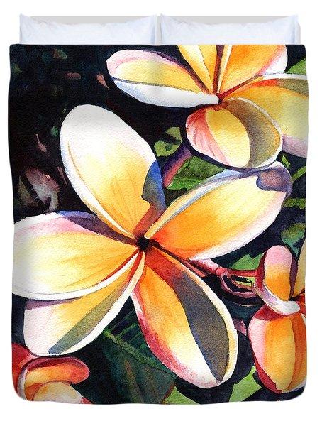 Kauai Rainbow Plumeria Duvet Cover