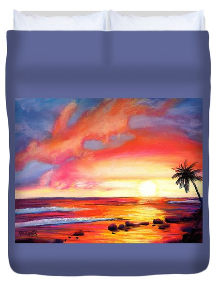Duvet Cover featuring the painting Kauai West Side Sunset by Marionette Taboniar