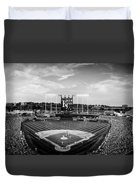 Kauffman Stadium - Bw Pano Duvet Cover