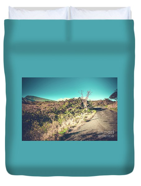 Kaupo Other Road To Hana Sunset Piilani Highway Maui Hawaii Duvet Cover by Sharon Mau