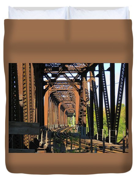 Kaw Point Railroad Bridge Duvet Cover