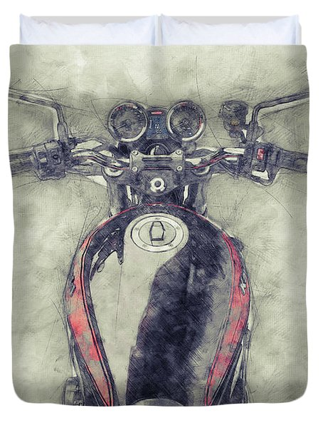 Kawasaki Z1 - Kawasaki Motorcycles 1 - 1972 - Motorcycle Poster - Automotive Art Duvet Cover