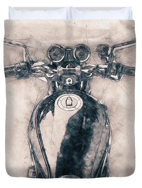 Kawasaki Z1 - Kawasaki Motorcycles - 1972 - Motorcycle Poster - Automotive Art Duvet Cover