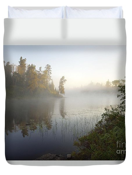 Duvet Cover featuring the photograph Kawishiwi Morning Fog by Larry Ricker