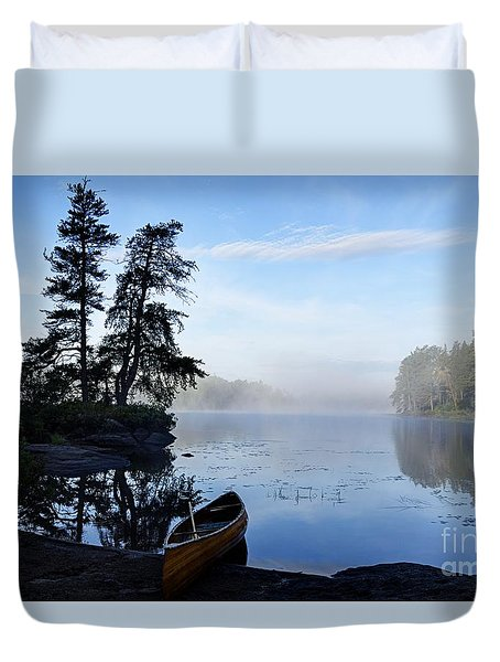 Duvet Cover featuring the photograph Kawishiwi Morning by Larry Ricker