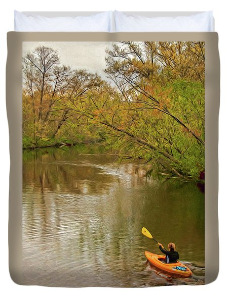 Kayak At Mead Duvet Cover