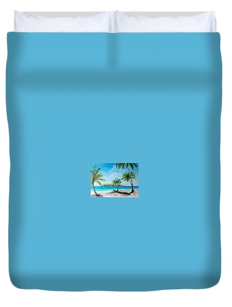 Kayak On The Beach Duvet Cover
