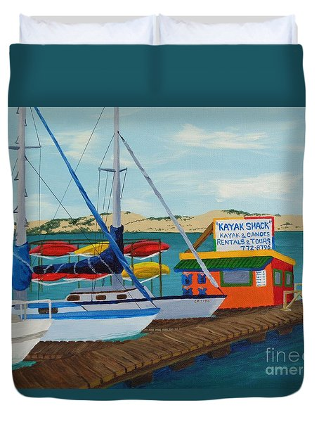 Duvet Cover featuring the painting Kayak Shack Morro Bay California by Katherine Young-Beck