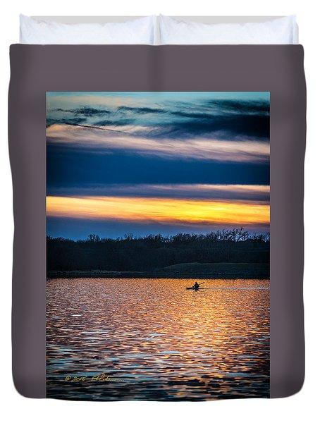 Kayak Sunset Duvet Cover