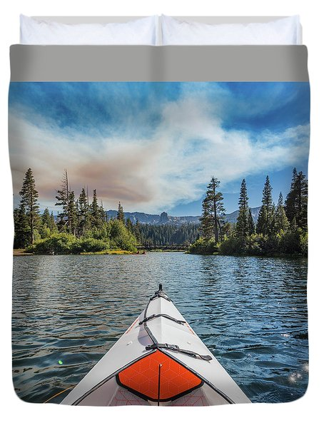 Kayak Views Duvet Cover by Alpha Wanderlust