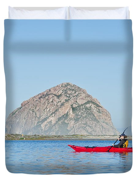 Kayaker In Morro Bay Duvet Cover by Bill Brennan - Printscapes