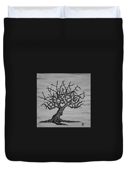 Duvet Cover featuring the drawing Kayaker Love Tree by Aaron Bombalicki