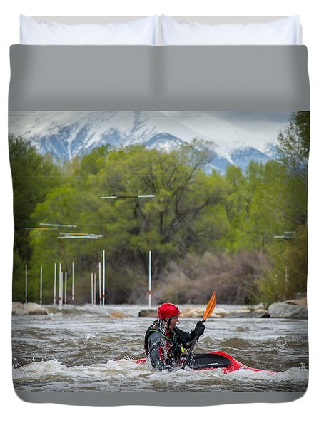 Kayaker On The Arkansas Duvet Cover