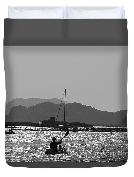 Duvet Cover featuring the photograph Kayaking In Bw by Yumi Johnson