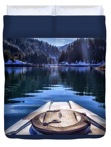 Kayaking In Mccloud Duvet Cover