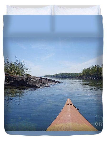 Duvet Cover featuring the photograph Kayaking Lake Superior's North Shore by Sandra Updyke