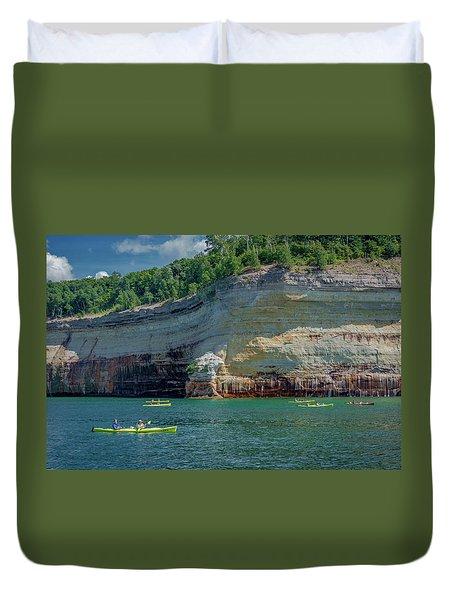 Kayaking The Pictured Rocks Duvet Cover