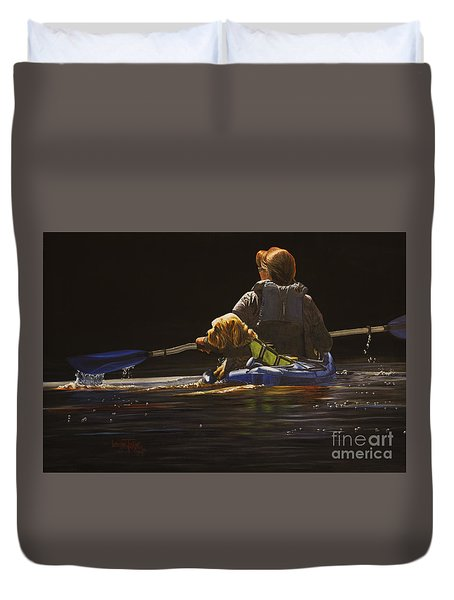 Kayaking With Your Best Friend Duvet Cover
