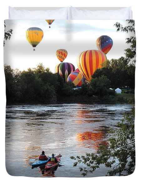 Kayaks And Balloons Duvet Cover