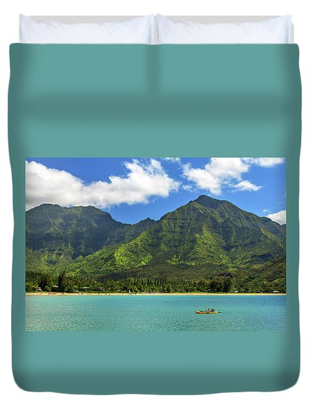 Kayaks In Hanalei Bay Duvet Cover