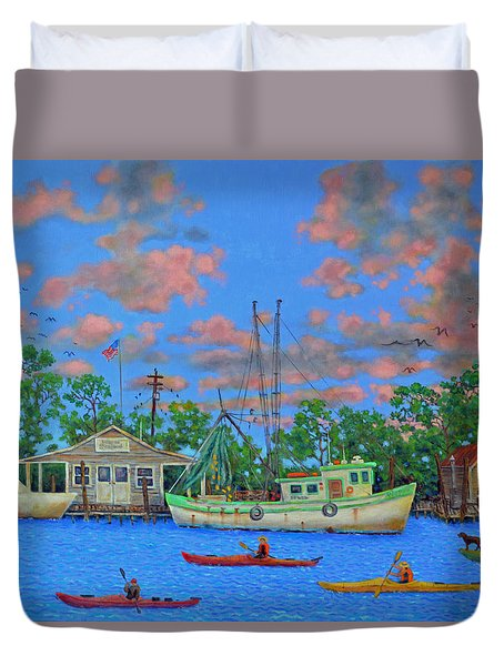 Duvet Cover featuring the painting kayaks on the Creek by Dwain Ray
