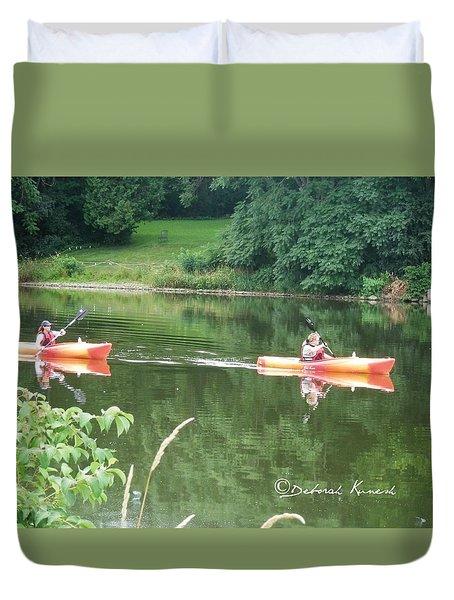 Kayaks On The River Duvet Cover