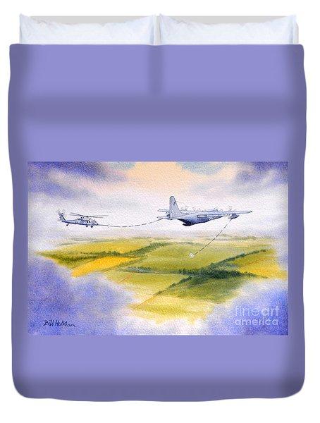 Kc-130 Tanker Aircraft Refueling Pave Hawk Duvet Cover by Bill Holkham