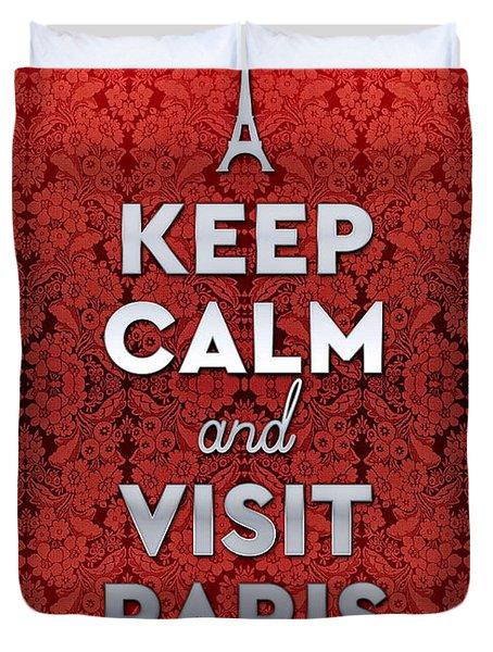 Keep Calm And Visit Paris Opera Garnier Floral Wallpaper Duvet Cover