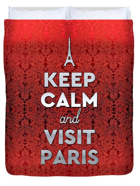 Keep Calm And Visit Paris Opera Garnier Floral Wallpaper Duvet Cover