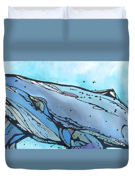 Keep Swimming Duvet Cover by Nicole Gaitan