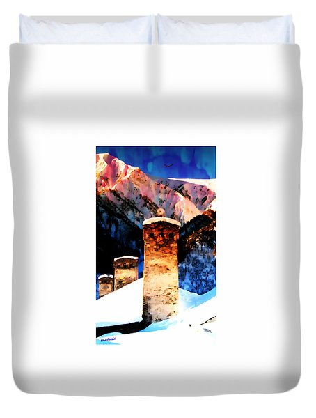 Duvet Cover featuring the photograph Keeper Of The Light Adishi Svaneti by Anastasia Savage Ealy