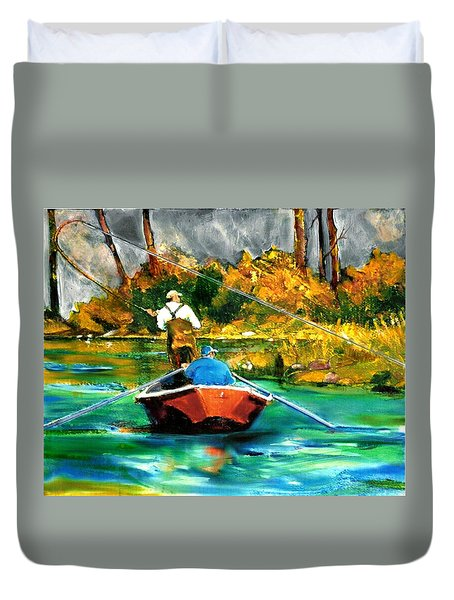 Keeping A Tight Line Duvet Cover by Joseph Barani