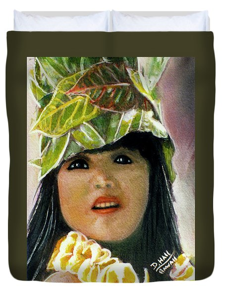 Keiki Child In Hawaiian #115 Duvet Cover by Donald k Hall