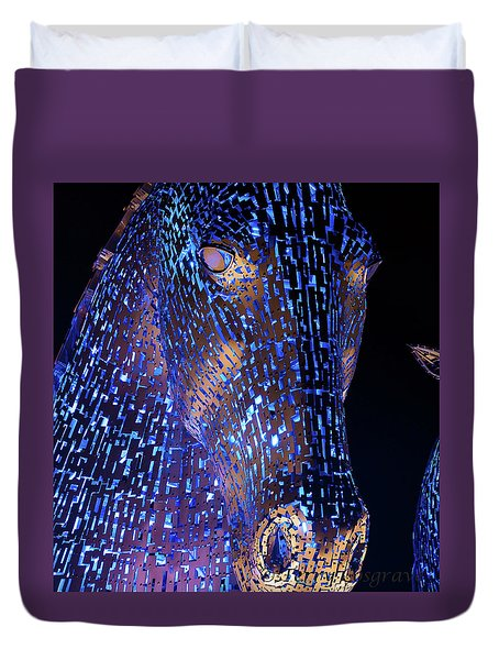 Kelpies Scotland Duvet Cover by Terry Cosgrave
