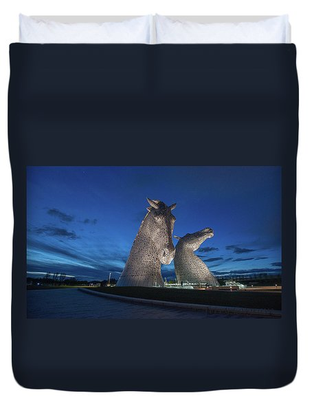 Kelpies  Duvet Cover by Terry Cosgrave