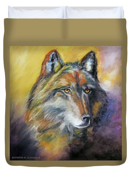 Duvet Cover featuring the painting Kenai Wolf Portrait by Jennifer Godshalk