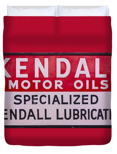 Kendall Motor Oils Sign Duvet Cover