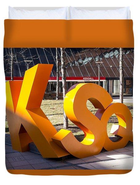 Kendall Square Sign Cambridge Ma Duvet Cover