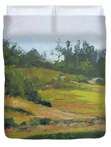 Duvet Cover featuring the painting Kenilworth Hills Queensland Australia by Chris Hobel