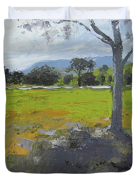 Duvet Cover featuring the painting Kenilworth Landscape Queensland Australia by Chris Hobel