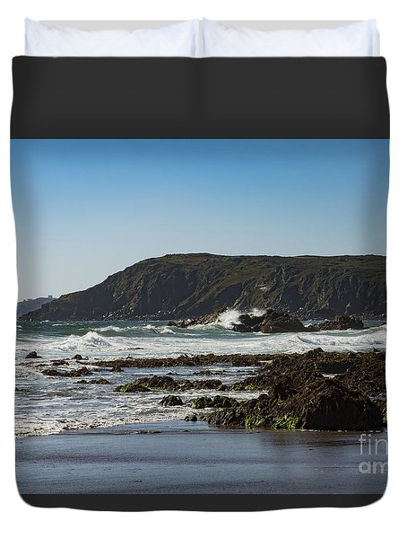 Duvet Cover featuring the photograph Kennack Sands by Brian Roscorla