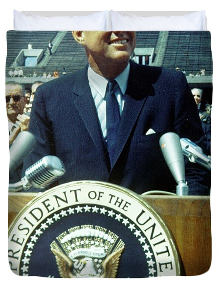 Kennedy At Rice University Duvet Cover