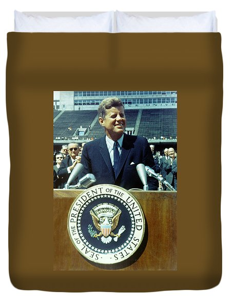 Kennedy At Rice University Duvet Cover