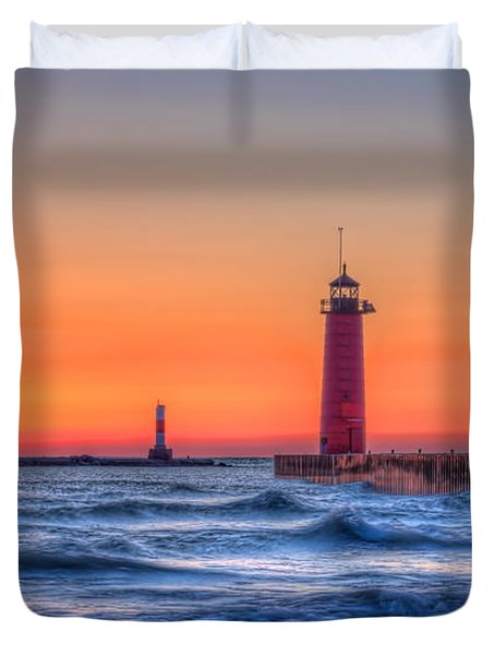 Kenosha Lighthouse Dawn Duvet Cover